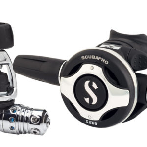 scubapro mk25 evo s600 regulator yoke chrome plated brass first stage and accent ring on second stage