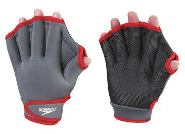 speedo aqua fitness gloves grey and red