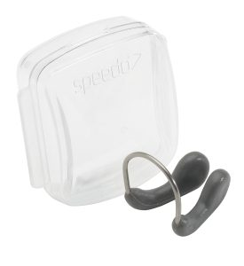 Speedo Competition Nose Clip are made of TPR (a transparent plastic or rubber material), held together by an adjustable stainless steel frame for a low profile fit and comes in a compact hard plastic box to protect it.