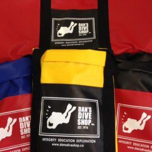 dan's dive shop heavy duty vinyl dive bag in black, blue or yellow