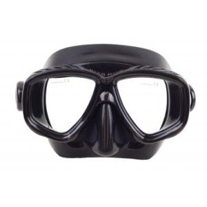 Dive Rite ES130 Mask black silicone skirt with 2 tempered glass lenses. Comes with hard case.
