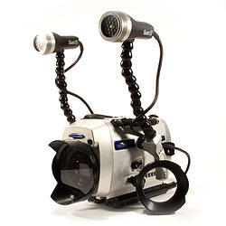 aluminum underwater dive housing for sony fx1 camera with wide angle lens and lighting system by light and motion