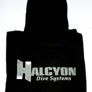 halcyon dive systems zippered logo long sleeve hoodie