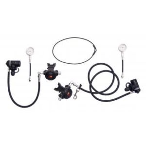 dive rite xt sidemount regulator package with high pressure hoses and second stage swivels and free regulator bag
