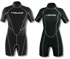head wave shorty wetsuit with short arms and legs, all black with head logo on centre chest in capital letters