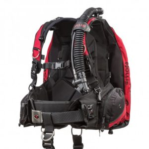 Hollis HD200 BCD back floatation with integrated weight pockets and power inflator on corrugated hose with crotch strap