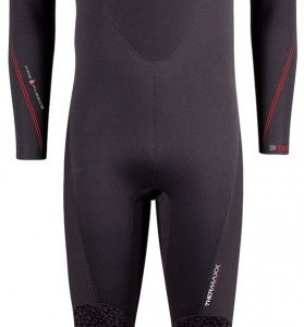 Henderson Thermaxx 7mm wetsuit for colder water diving offers a larger range of sizes for bigger men and women and features 10 year warranty, basic black colour with blue shoulders and absorbent Thermaxx inner lining increases warmth