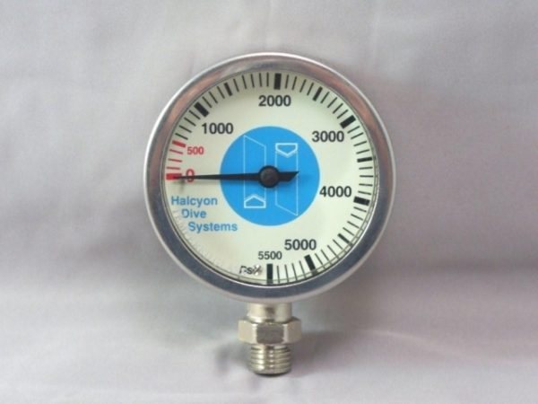 """Halcyon Master SPG a large 2.5"""" brass pressure gauge with tempered glass lens and 100psi incremental reading display"""