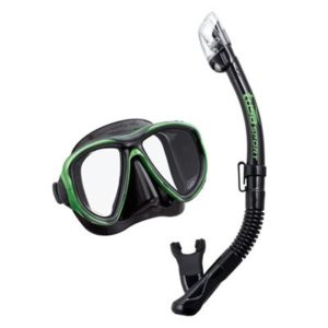 tusa sport Powerview Combo includes 2 lens mask with strap and dry snorkel with mask clip green