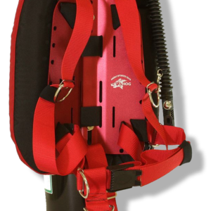 Hog Single Tank Backplate System choice of aluminum of steel with red or black harness, choice of wing colour and single tank adapter