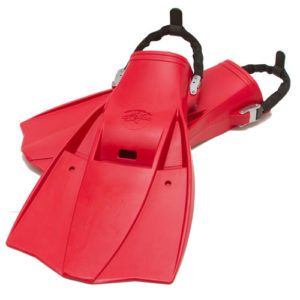 Hog Tech 2 Fins with spring heel strap and strap tab. Red.