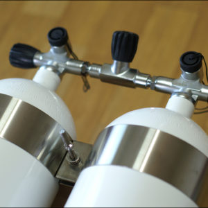 Faber LP-85 steel doubles package with dual tank bands made of stainless steel and isolation manifold not as shown