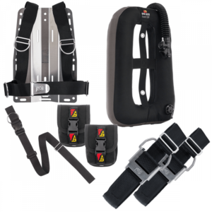 """dive rite xt lite backplate with standard harness, 1.5"""" crotch strap, 2 travel weight pockets, travel exp wing and 2 bcd cam straps"""