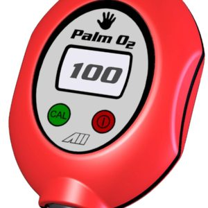 Analytical Industries Palm O2 D Oxygen Analyzer red housing with screw on black flow meter tests the air flow from the tank valve. Green on red off button with LCD Display