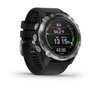 Garmin Descent MK2 Computer with Stainless Steel Housing, black screen, black silicone strap