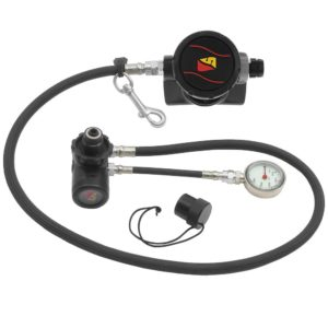 """dive rite xt stage regulator package with din cap, dive rite stage spg on 6"""" HP hose, first stage with swive, second stage with 40"""" hose and new flexible second stage cover. Stainless Steel Bolt Snap"""