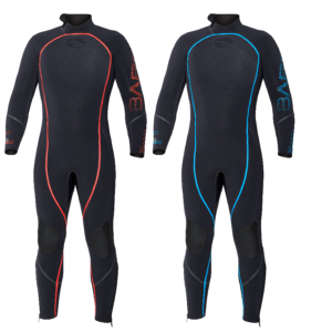 the bare reactive 5mm wetsuit is a black wetsuit with coloured seam welds and logo in blue, red or black accents with seals on the wrist, neck and ankle and a back zipper
