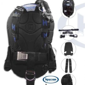 halcyon infinity bcd system with choice of backplate, cinch harness, back pad, shoulder pads, black wing and choice of single tank or weighted single tank adapter