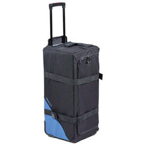 Akona Roller Duffel Bag features a black material with a small blue triangle on the bottom left corner, a zippered closure with adjustable tie-down straps to compress the size and shape of the bag, a pair of rugged plastic wheels and a pull out handle that extends out to allow for wheeling around