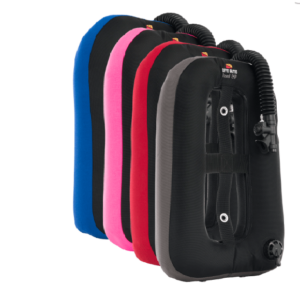 dive rite travel exp wing blue, pink, red, grey wings shown
