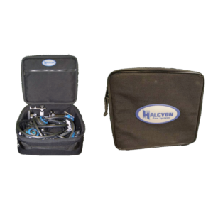 Halcyon Traveler Regulator Bag black rectangle with halcyon logo and black zipper