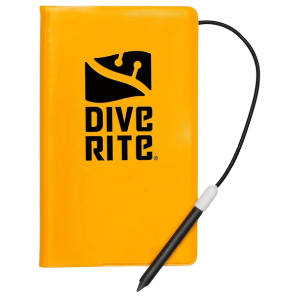 dive rite dive writes underwater notebook with graphite pencil, shockcord and end cap