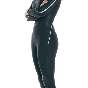 Fourth Element Proteus II 3mm Wetsuit women's all black with silver accents down the arms
