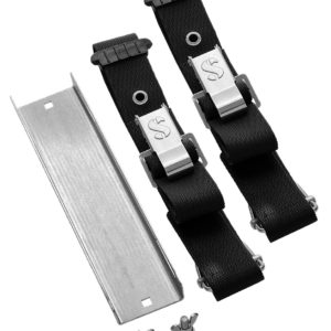 Scubapro S Tek Single Tank Adapter stainless steel with a pair of cam straps