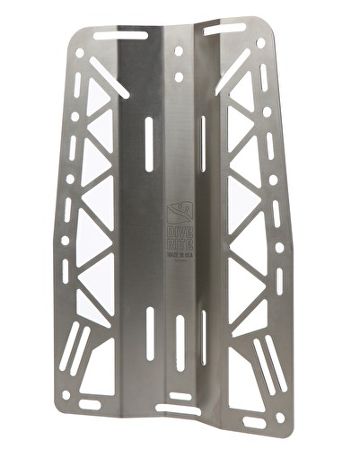 dive rite xt lite stainless steel backplate with holes cut out to lighten up the plate more like aluminum