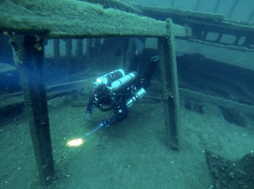 matt doing a rebreather dive on the shipwreck forest city in Tobermory