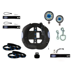 Halcyon JJ CCR Accessories Student Kit features nylon straps with velcro, brass pressure gauges, stainless steel bolt snaps, a scuba diving bcd, metal pipe clamps and more