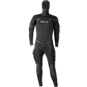Hollis NeoTek V2 8/7/6mm Neoprene Wetsuit with Hood attached and thigh pockets on each leg is a semi-dry wetsuit for scuba diving
