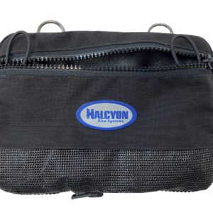 halcyon sidemount cargo pocket features a pair of loop d-rings made of stainless steel to mount to the back of the harness and a zipper that opens to allow easy loading and unloading of accessories into the pocket which is made of heavy duty cordura nylon