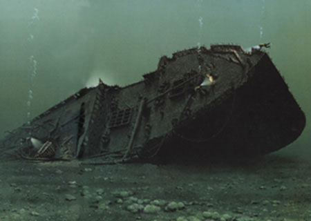 Empress of Ireland Painting of the shipwreck underwater