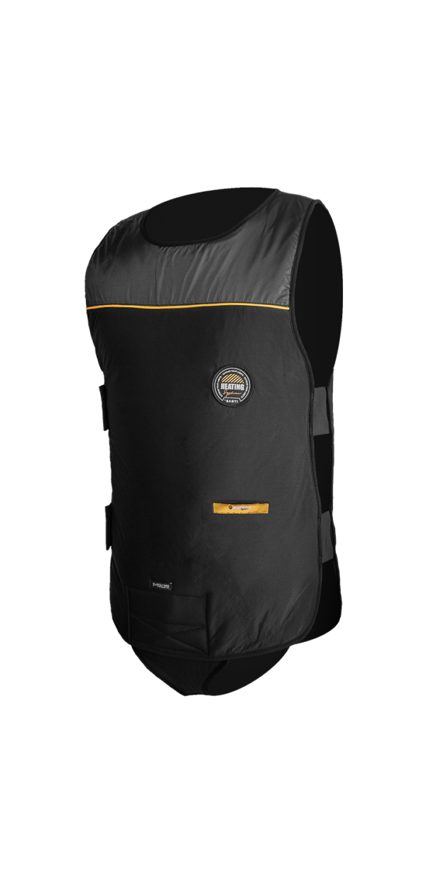 santi heaving vest flex 2.0 thinsulate vest with crotch strap and right side Velcro pair and heater cable to plug into valve. New dull colour not shiny with yellow stripe along top chest