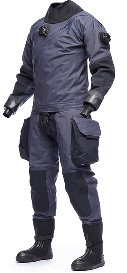 avatar drysuit package with mens or ladies drysuit grey body with Oxford grey dark pockets mens or ladies grey suit with teal pocket, both suits come self-donning with Flex Sole Boots, standard blued in seals.