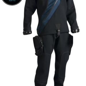 DUI CF200X Drysuit pictured with midnight blue overlay and thigh pockets