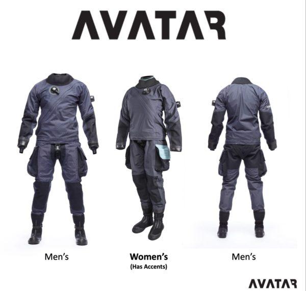 avatar drysuit men's front view grey suit ladies grey suit wit h teal pocket and back view men's suit