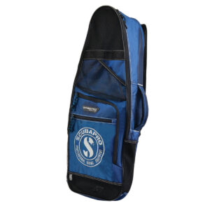 Scubapro Beach Bag a blue and black bag with scubapro logo on an expandable small front pocket has a mesh zippered area and a carry handle