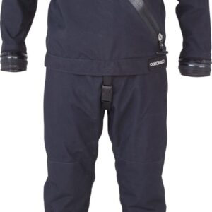 DUI Coronado Drysuit self donning all black with soft socks and zip seals