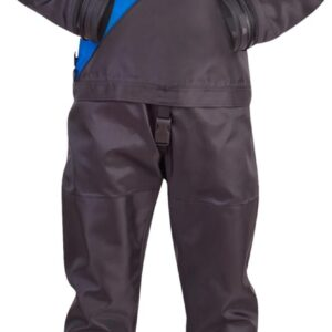 dui TLS350 Drysuit lightweight black nylon suit with blue chest triangle overlay and standard seals