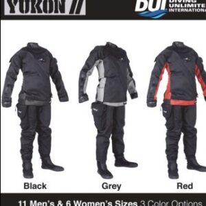 DUI Yukon 2 Drysuit black, grey and red overlays featured