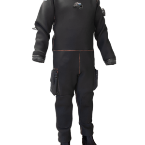 DUI CD300 Sport Diver Drysuit all black neoprene 3mm drysuit black with back entry zipper and thigh pockets, ultraflex boots and replaceable DUI ZipSeals